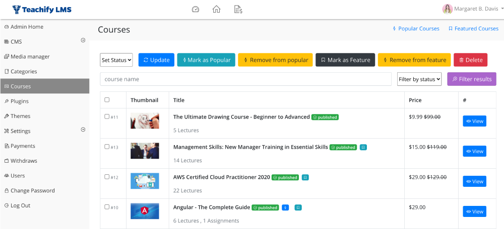 All courses in the admin panel - teachify lms