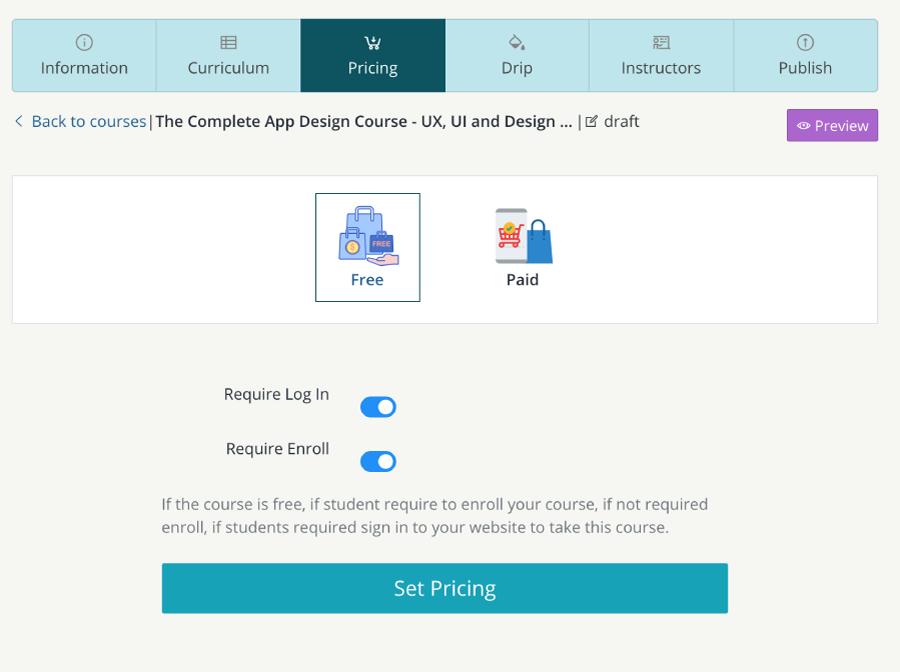 set course pricing - teachify lms