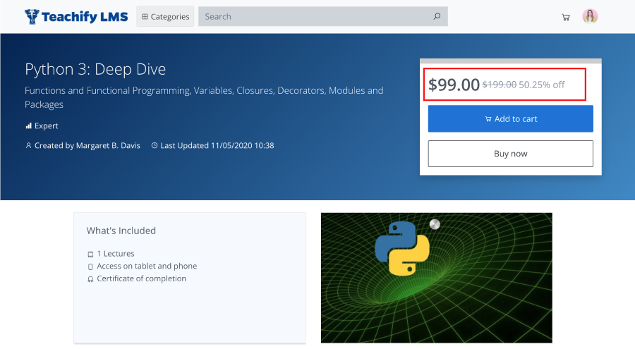 Single course price show in teachify lms