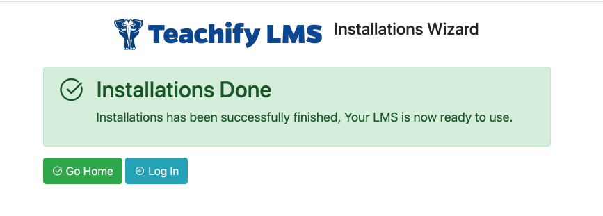 Teachify LMS installation wizard