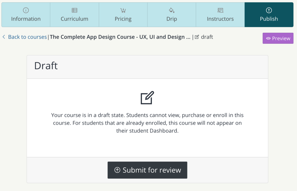 Submit course to review - teachify lms