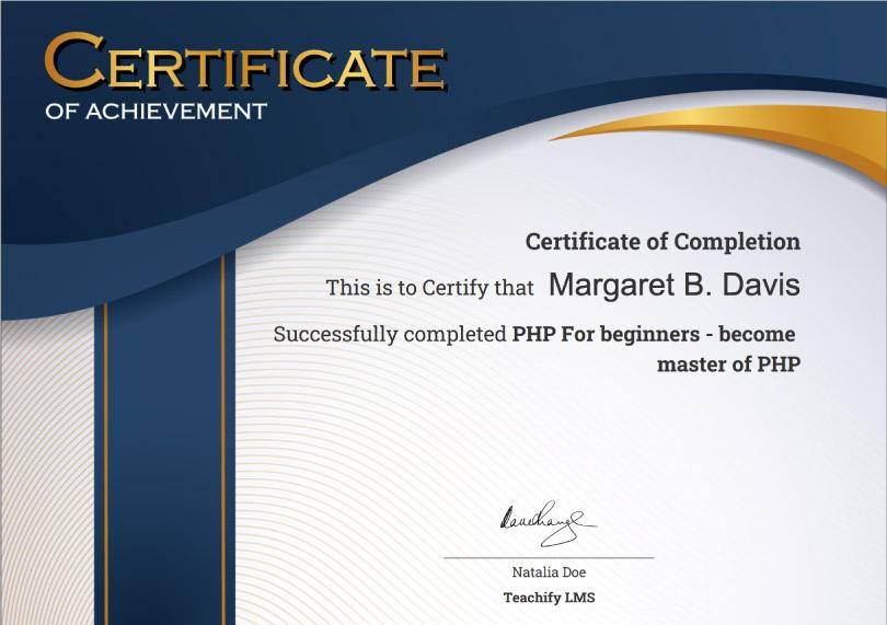 Certificate - teachify LMS