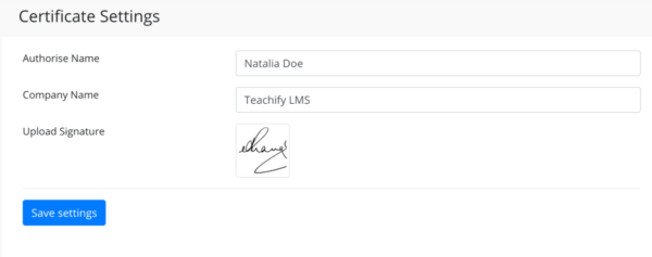 certificate -settings - teachify lms