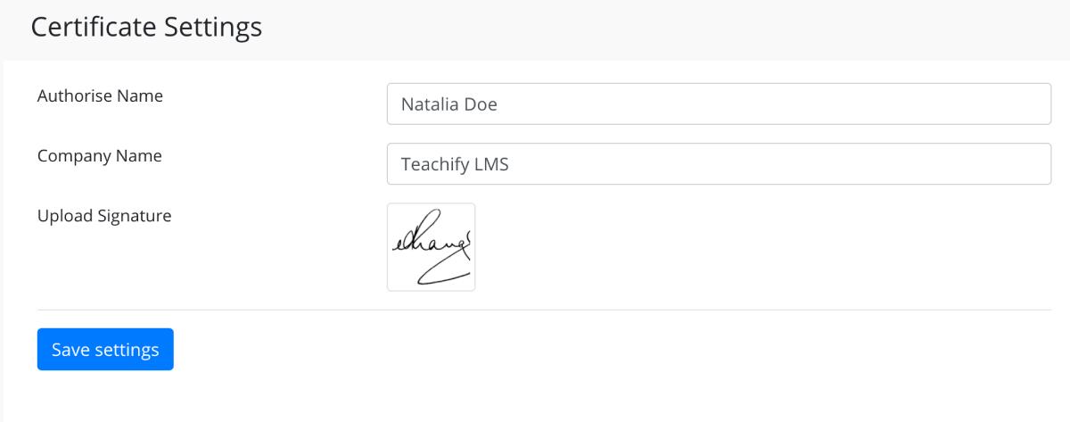 Certificate Settings - Teachify LMS