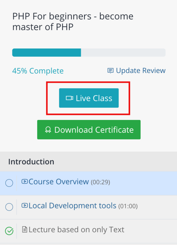 course live button - teachify lms