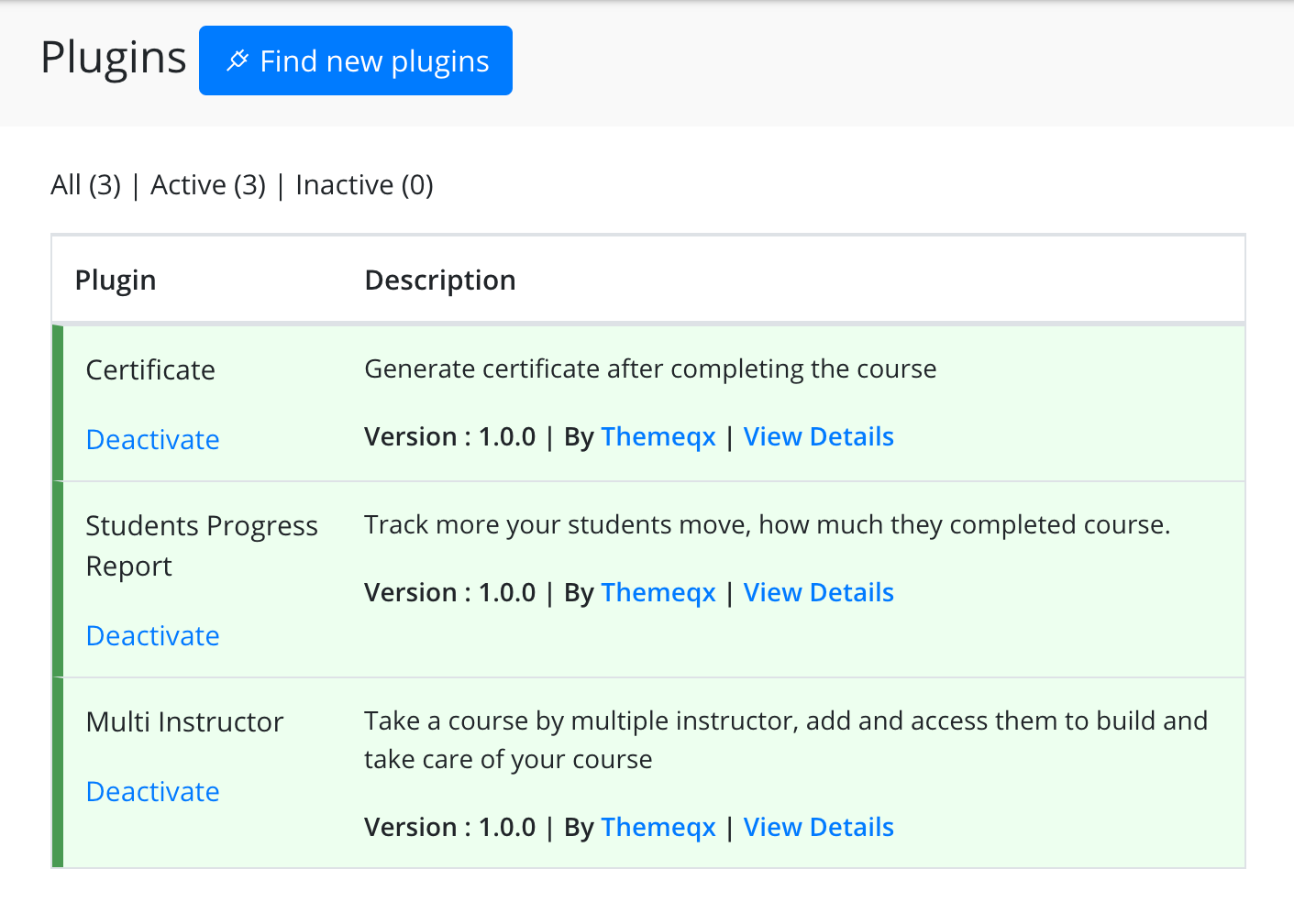 Plugins list - teachify lms