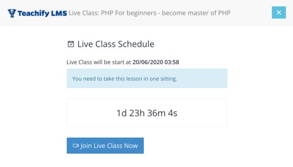 Scheduled Live Class - teachify LMS